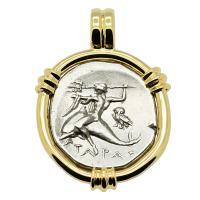 Greek - Italy 272-240 BC, Taras riding Dolphin and Horseman nomos in 14k gold pendant.
