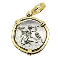 Greek - Italy 272-240 BC, Taras riding Dolphin and Horseman nomos in 14k gold pendant.