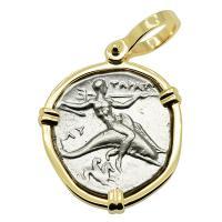 Greek - Italy 302-280 BC, Taras riding Dolphin and Horseman nomos in 14k gold pendant.