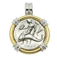 Greek - Italy 272-240 BC, Taras riding Dolphin and Horseman nomos in 14k white and yellow gold pendant.