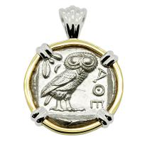 Greek 454-404 BC, Owl and Athena tetradrachm in 14k white and yellow gold pendant.