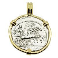 Roman Republic 119 BC, Victory chariot and Roma denarius in 14k gold pendant.