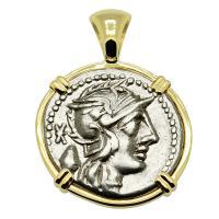 Roman Republic 126 BC, Roma and Libertas chariot denarius in 14k gold pendant.