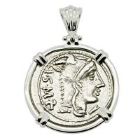 Roman Republic 105 BC, Queen Goddess Juno denarius in 14k white gold pendant.