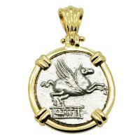 Roman Republic 90 BC, Pegasus and Bacchus denarius in 14k gold pendant.