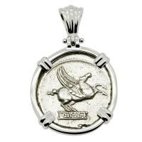 Roman Republic 90 BC, Pegasus and Mutnius Titinus denarius in 14k white gold pendant.