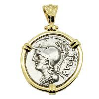 Roman Republic 100 BC, Minerva and Victory Chariot denarius in 14k gold pendant.
