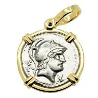 Roman Republic 76 BC, Mars and Ram denarius in 14k gold pendant.