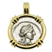 Roman Republic 46-45 BC, Julius Caesar denarius with Venus in 14k gold pendant.
