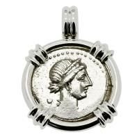 Roman Republic 46-45 BC, Julius Caesar denarius with Venus in 14k white gold pendant.