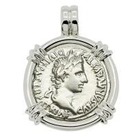 Roman Empire 2 BC - AD 4, Emperor Caesar Augustus denarius in 14k white gold pendant.