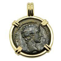 Roman Empire 27 BC- AD 14, Emperor Caesar Augustus bronze coin in 14k gold pendant.