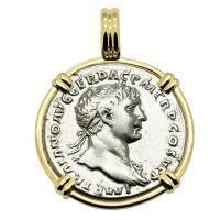Roman Empire AD 103-107, Emperor Trajan and Virtus denarius in 14k gold pendant.