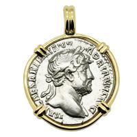 Roman Empire AD 125, Hadrian and Pax denarius in 14k gold pendant.