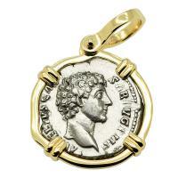 Roman Empire AD 145-147, Marcus Aurelius and Honos denarius in 14k gold pendant.