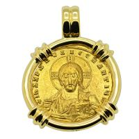 Byzantine 945-959, Jesus Christ with Constantine VII and Romanus II Solidus in 18k gold pendant.