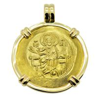 Byzantine 1118-1143, Jesus Christ with John II and the Virgin Mary, hyperpyron in 14k gold pendant.