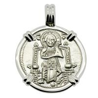 Venice 1289-1311, Jesus Christ and Saint Mark grosso in 14k white gold pendant.