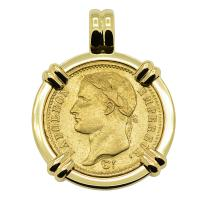 French Emperor Napoleon 20 Francs dated 1808 in 14k gold pendant.