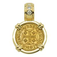 Portuguese 400 Reis dated 1728, with cross and crown in 14k gold pendant with diamonds.