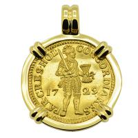 Dutch Ducat dated 1729 in 18k gold pendant, 1735 Dutch East Indiaman Shipwreck, Zealand.