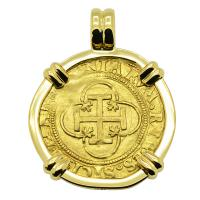 Spanish 1516-1556, Johanna and Charles I one escudo in 18k gold pendant.