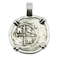 Colonial Spanish Mexico 1/2 real 1571-1589, in 14k white gold pendant.