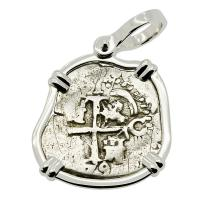 Colonial Spanish Peru, King Charles II one real dated 1679, in 14k white gold pendant.