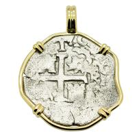 Colonial Spanish Peru, King Charles II one real dated 1690, in 14k gold pendant.