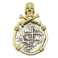 Colonial Spanish Peru, King Charles II one real dated 1699, in 14k gold Skull and Bones pendant.
