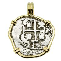 Colonial Spanish Peru, King Philip V two reales dated 1730, in 14k gold pendant.