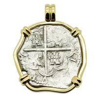 Spanish 4 reales 1612-1620, in 14k gold pendant, 1622 Portuguese Shipwreck, Mozambique, Africa.
