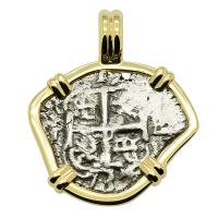 Colonial Spanish Peru, King Philip V one real dated 1737, in 14k gold pendant.