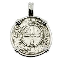 Antioch 1163-1188, Crusader Cross denier in 14k white gold pendant.