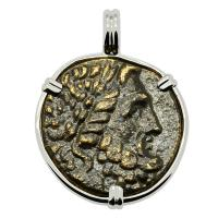 Greek 133-27 BC, God of Medicine Asclepius bronze coin in 14k white gold pendant.