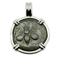Greek Ephesus 202-133 BC, Bee and Stag bronze coin in 14k white gold pendant.