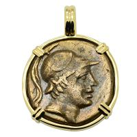 Greek 115-90 BC, Ares and Sword bronze coin in 14k gold pendant.