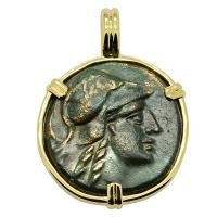 Greek 160-110 BC, Athena and trophy bronze coin in 14k gold pendant.