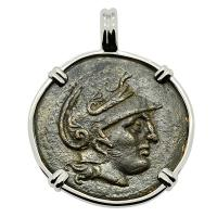 Greek 305-281 BC, Athena and trophy bronze coin in 14k white gold pendant.