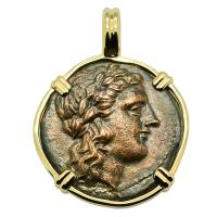 Greek Akragas 287-279 BC, Zeus and Eagles bronze coin in 14k gold pendant.