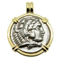 Greek Tyre 325-324 BC Lifetime Issue, Alexander the Great tetradrachm in 14k gold pendant.