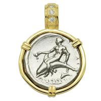 Greek - Italy 344-340 BC, Taras riding Dolphin and Horseman nomos in 14k gold pendant with diamonds.