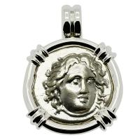Greek 305-275 BC, Sun God Helios and rose didrachm in 14k white gold pendant.