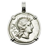 Roman Republic 77 BC, Roma and Victory chariot denarius in 14k white gold pendant.