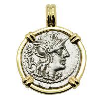 Roman Republic 130 BC, Roma and Jupiter chariot denarius in 14k gold pendant.