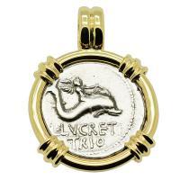 Roman Republic 74 BC, Genius riding Dolphin and Neptune denarius in 14k gold pendant.