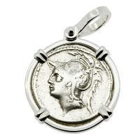Roman Republic 103 BC, Mars and Warriors denarius in 14k white gold pendant.