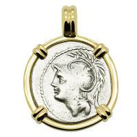 Roman Republic 103 BC, Mars and Warriors denarius in 14k gold pendant.