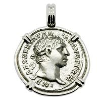 Roman Empire AD 101-102, Emperor Trajan and Victory denarius in 14k white gold pendant.