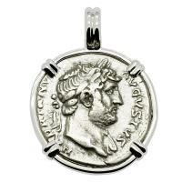 Roman Empire AD 125-128, Hadrian and Neptune denarius in 14k white gold pendant.
